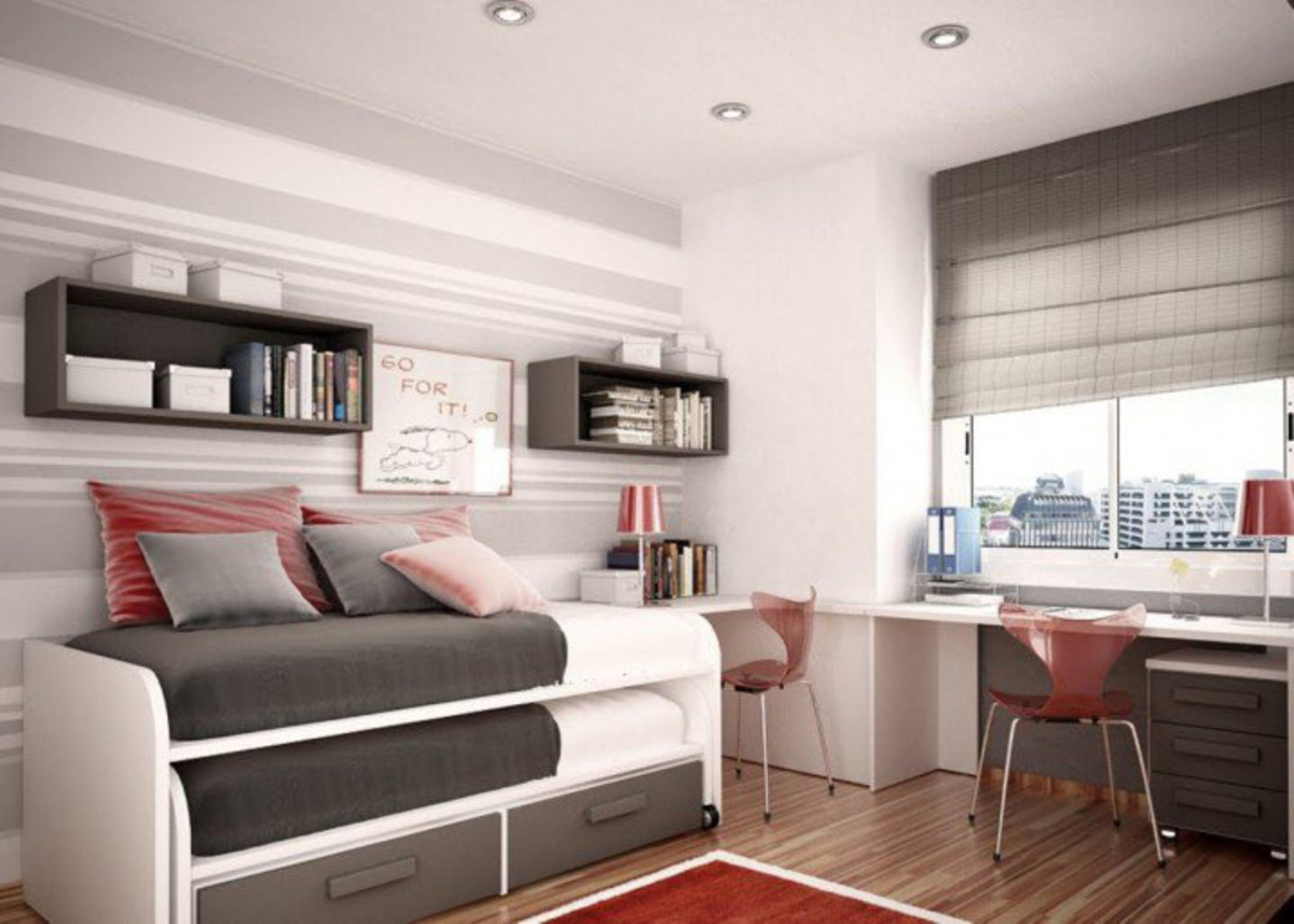 Neat-Inspirational-Space-Saving-Pull-Bunk-Bed-Design-Feat-Red-Clear-Desk-Chair-And-Chic-Gray-Bedroom-Wall-Paint-1220x871-718x513