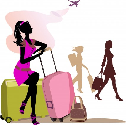 Woman with travel cases.