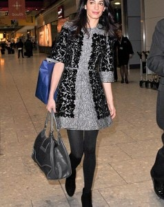 Amal Alamuddin Clooney makes a chic arrival at Heathrow Airport **USA ONLY**