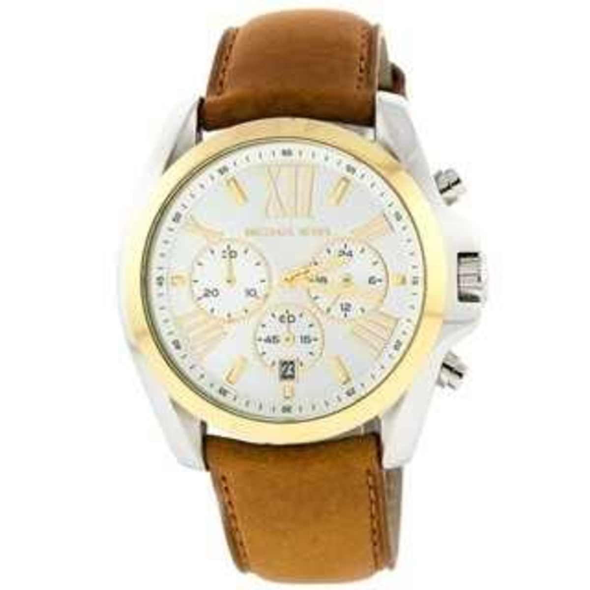 MICHAEL MICHAEL KORS 'BRADSHAW' LEATHER STRAP WATCH: