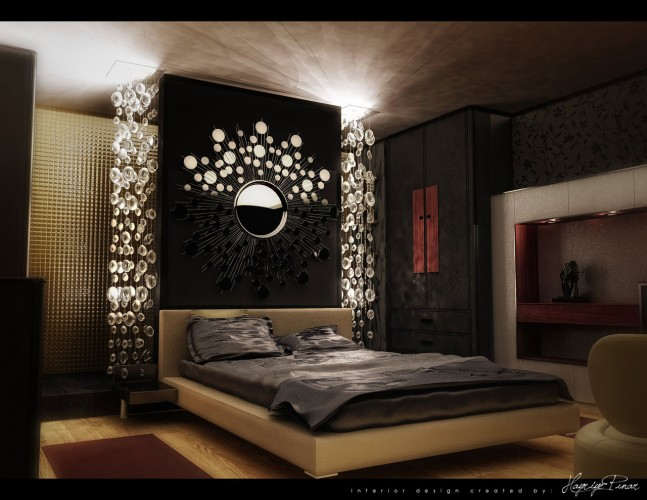 bedroom-luxurious-artistic-dark-colored-master-bedroom-design-by-hepe-design-featuring-amazing-floating-bed-set-headboard-design-with-beautiful-round-mirrors-decoration-black-antique-wardrobe-wall