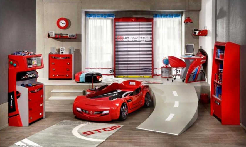 boys-bedroom-charming-kids-room-decor-ideas-with-red-car-decoration-theme-using-red-chair-bed-also-cabinet-and-shelves-plus-nice-desk-and-cool-decorations-kids-sports-room-ideas