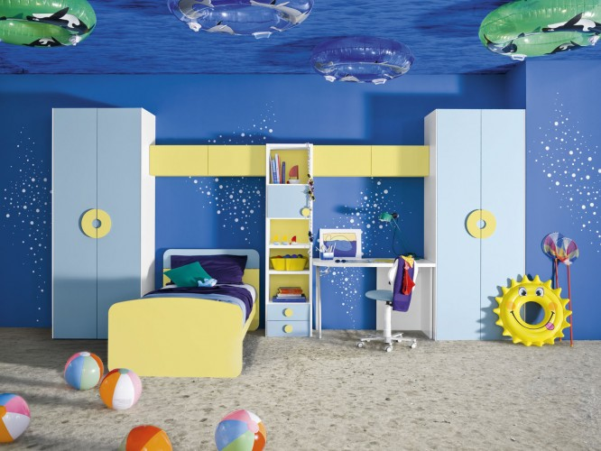 boys-bedroom-kds-bedroom-decoration-with-chic-yellow-bed-integrated-with-wall-shelves-decorated-with-blue-underwater-theme-and-cream-rug-flooring-boys-room-with-blue-decoration-theme