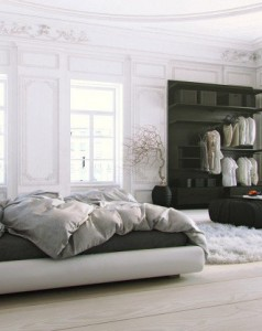 royal-luxurious-white-scandinavian-bedroom-design-with-modern-dark-gray-and-white-platform-bed-natural-light-wood-flooring-black-accented-open-closet-seating-and-coffee-table-and-awesome-clear-gl-