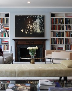 Decorating-Ideas-for-Family-Room-with-Modern-Fireplace-Wooden-Frame-Fireplace-White-Cabinet-and-Using-Black-Ceramic-Floor