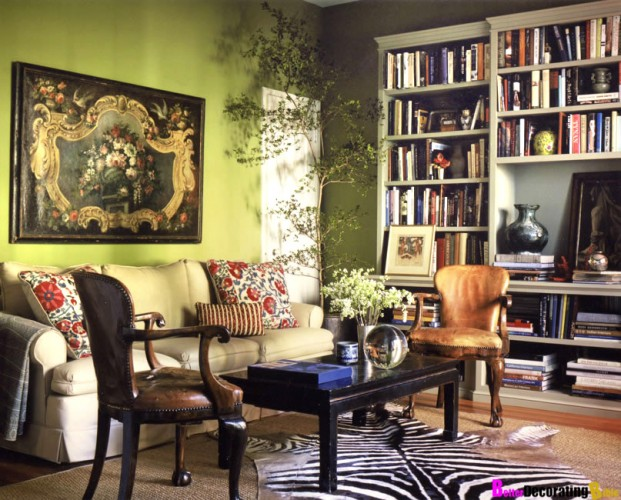 Suzy-Q-Better-Decorating-Bible-Blog-Ideas-Living-Room-Library-Bohemian-Style-How-To-Olive-Green-Walls-Bamboo-Furniture-Zebra-Hide-Suzani-Pillows-Couch-Bookshelf-Furniture-Beige-Patte