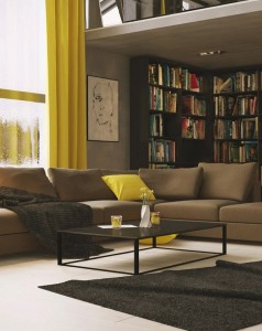 living-room-astonishing-combination-living-room-decorating-ideas-with-library-and-yellow-curtain-accents-also-comfortable-brown-l-shaped-sofa-along-with-rectangular-glass-top-table-enchanting-living-r