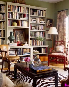 suzy-q-better-decorating-bible-blog-ideas-living-room-library-bohemian-style-how-to-olive-green-walls-bamboo-furniture-zebra-hide-suzani-pillows-couch-bookshelf-furniture-beige-patte-2-best-picture-01