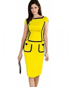 2015-UK-New-Summer-Fashion-Womens-Dress-Work-Party-Bodycon-Yellow-Dress-Pencil-Women-Office-Wear