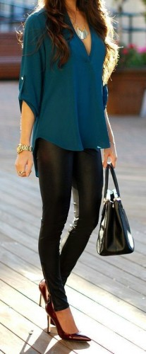 Fashion 2015 Trends - Blue Top with Black Leather Skinnies Awesome Street Style