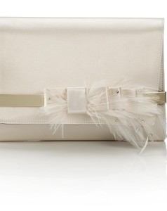 BOW- SATIN WITH CRYSTAL EMBELLISHED FEATHER BOW- IVORY AED 5300