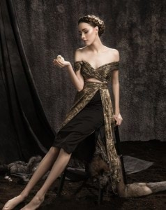 Cracked Gold Cocktail Dress with Cut-out Waist - (Concept Shot)  (1)