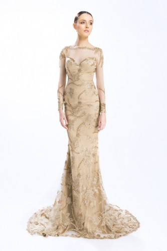 Embellised Gown with Detachable Tulle Skirt and Veil (1)