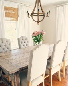 Farmhouse-Dinner-with-Wooden-Chandelier