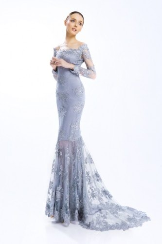 Floral Silver Gown with Train