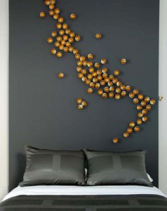 Unique wall decoration is inside the bedroom in the residence