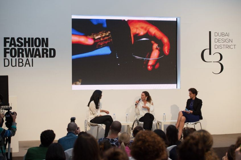 DUBAI, UNITED ARAB EMIRATES – APRIL 01:  (L-R) Moderator Ritu Upadhyay, WWD, Sarah Beydoun, Sarah's Bag and Caterina Occhio, SeeME speak during the d3 Fashion Talk: Why Ethical Fashion Matters on day 2 of Fashion Forward Fall/Winter 2016 held at the Dubai Design District on April 1, 2016 in Dubai, United Arab Emirates.  (Photo by Cedric Ribeiro/Getty Images) *** Local Caption *** Ritu Upadhyay;Sarah Beydoun;Caterina Occhio