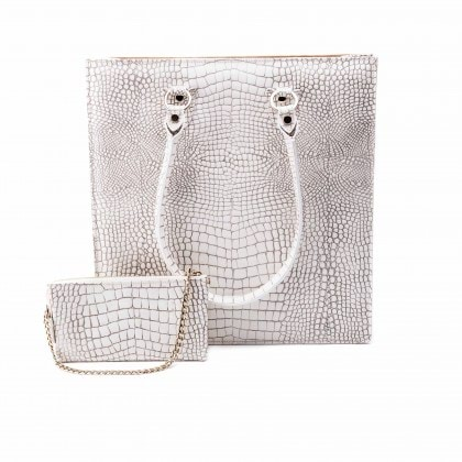 Aida Tote Bag in White Crocodile Print_AED 3700