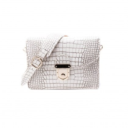 Angelina Cross Body Bag in Dirty White Crocodile Print_AED 3500