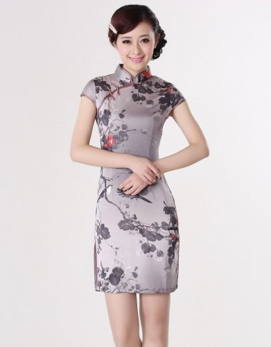 Fashion-Chinese-Women-s-Silk-Rayou-Cheongsam-Mini-Qipao-Dress-Flower-S-M-L-XL-XXL