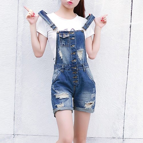 Jeans-Female-Jeans-Overalls-Catsuit-han-edition-hole-The-cowboy-straps-shorts-conjoined-loose-fitting-jumpsuits