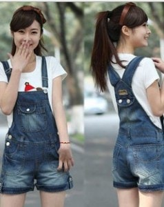 New-School-Style-Cute-Flanging-Hole-Pocket-Denim-Overalls-Shorts-blue-jeans-jumpsuit