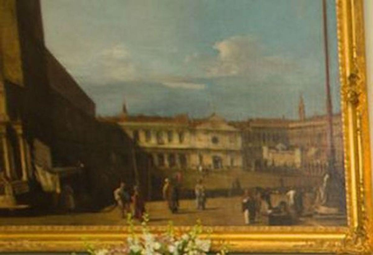Painting-by-the-artist-Canaletto-entitled-Venice-Piazza-S-Marco-towards-S-Geminiano-dating-from-between-1697-and-1768