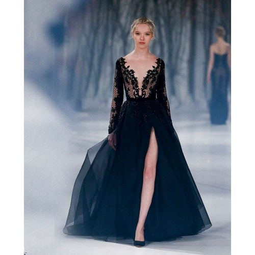 Sexy-Black-Formal-Evening-Dresses-Deep-V-neck-Long-Sleeves-Evening-Dresses-Split-Front-Paolo-Sebastian