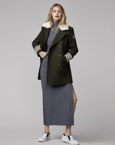 Gigi-wears-classic-wool-trench-over-dress