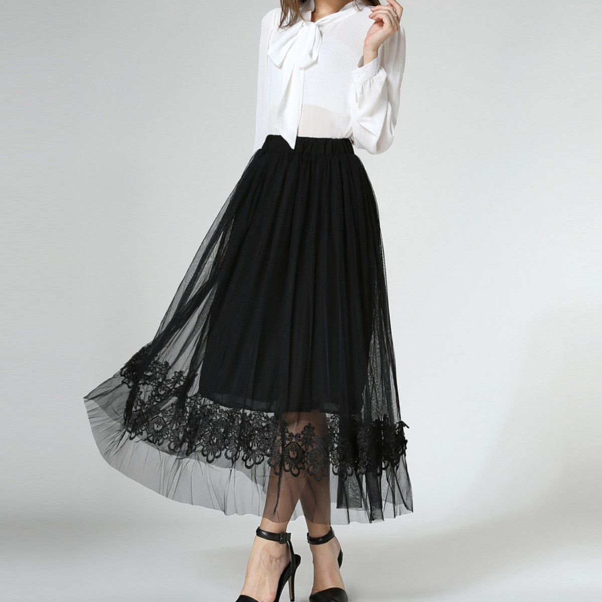 New-Summer-Chic-Mesh-Tulle-font-b-Skirt-b-font-Women-Fashion-Pleated-Floral-font-b