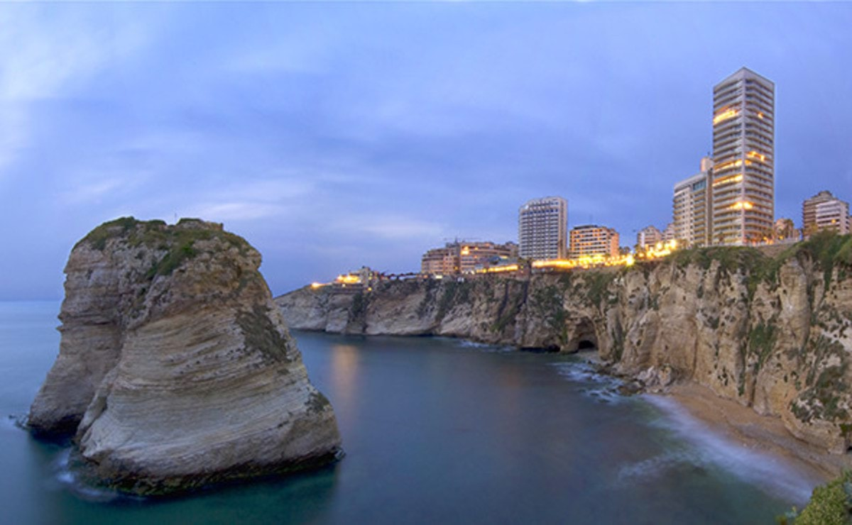 View of Beirut and Pigeon's Rock from Corniche