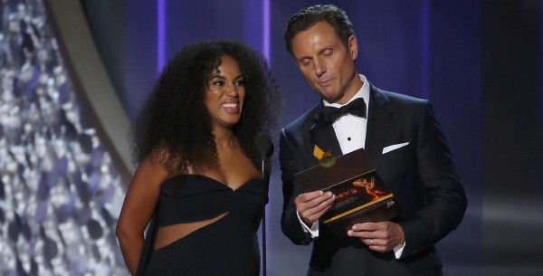 Washington and Goldwyn present the award for Outstanding Limited Series at the 68th Primetime Emmy Awards in Los Angeles