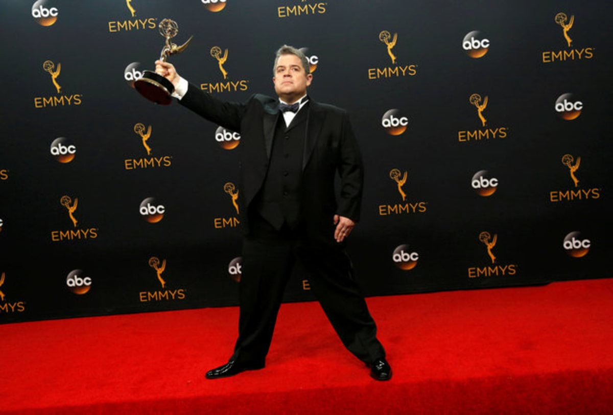 "Writer Patton Oswalt poses backstage with his award for Outstanding Writing For A Variety Special for ""Patton Oswalt: Talking For Clapping"" at the 68th Primetime Emmy Awards in Los Angeles, California U.S., September 18, 2016.  REUTERS/Mario Anzuoni     TPX IMAGES OF THE DAY"