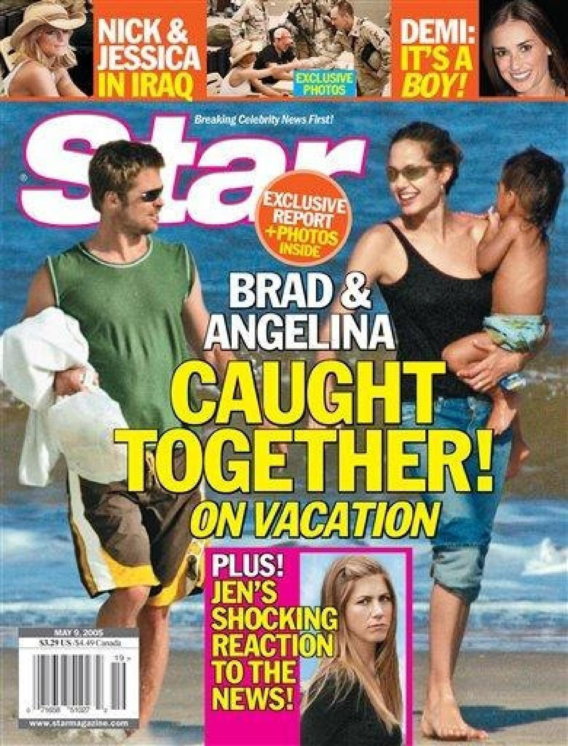 BRAD PITT and ANGELINA JOLIE on the cover of Star May 2005 Supplied by WENN