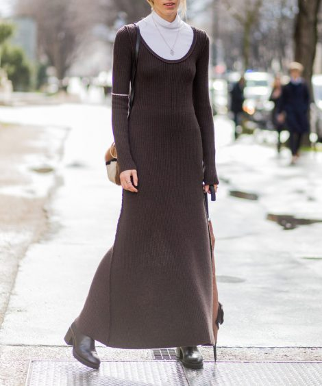 PARIS, FRANCE – March 07:  Veronika Heilbrunner wearing a brown dress outside Giambattista Valli  during the Paris Fashion Week Womenswear Fall/Winter 2016/2017 on March 7, 2016 in Paris, France.  (Photo by Christian Vierig/Getty Images)