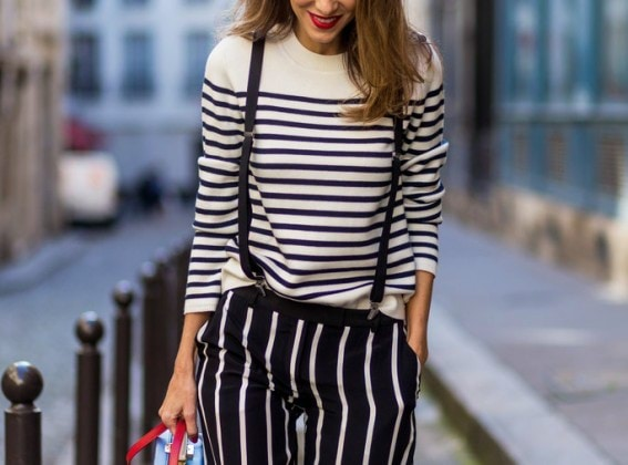 PARIS, FRANCE - OCTOBER 01: German model and fashion blogger Alexandra Lapp (@alexandralapp_) wearing striped jumper from Steffen Straut, striped pants from Emilio Pucci, suspenders H&M, Gianvito Rossi shoes and Mark Cross bag on October 1, 2016 in Paris, France. (Photo by Christian Vierig/Getty Images)
