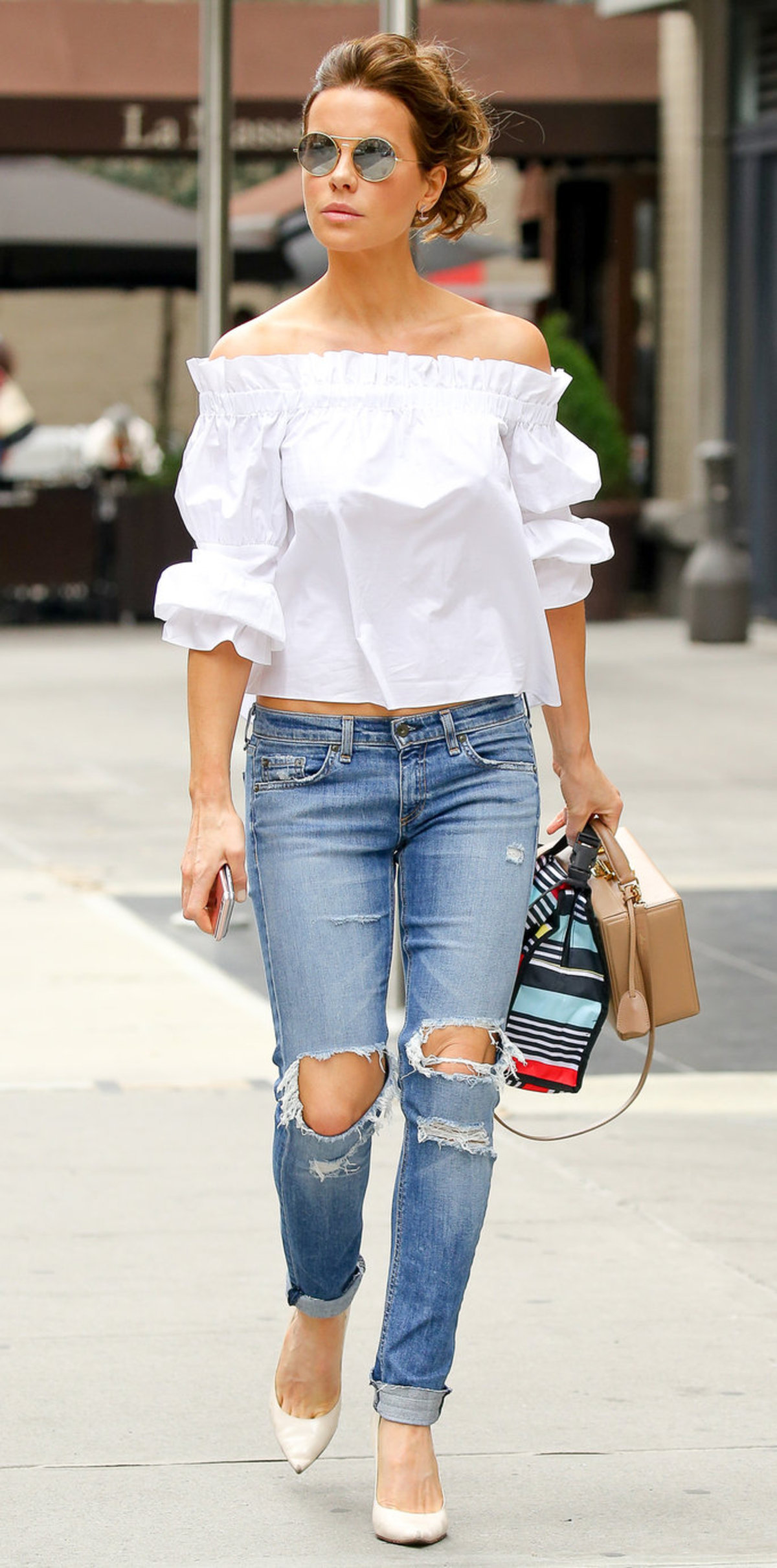EXCLUSIVE: Kate Beckinsale steps out wearing ripped jeans a long sleeve off shoulder top, kate was heading to the CRUCIBLE Broadway play with her mother Judy Loe and daughter Lily Mo Sheen in New York City, New York. Pictured: Kate Beckinsale Ref: SPL1315603 100716 EXCLUSIVE Picture by: Felipe Ramales / Splash News Splash News and Pictures Los Angeles:310-821-2666 New York:212-619-2666 London:870-934-2666 photodesk@splashnews.com