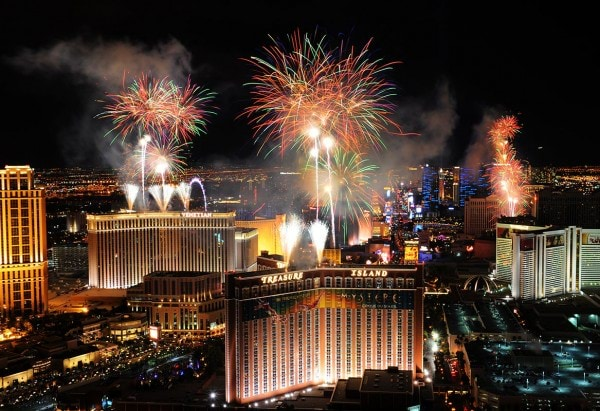 In this photo provided by the Las Vegas News Bureau, fireworks burst over the Las Vegas Strip at midnight on New Year's 2015, as seen from Trump International Hotel Las Vegas. Las Vegas officials expect to welcome 340,000 visitors for the holiday. Thursday, January 1, 2015. (Photo/Las Vegas News Bureau, Brian Jones)