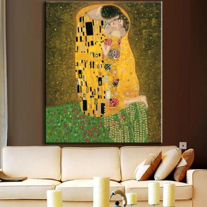 Hand-Paint-font-b-Replica-b-font-Of-The-Kiss-From-Gustav-Klimt-modern-abstract-font