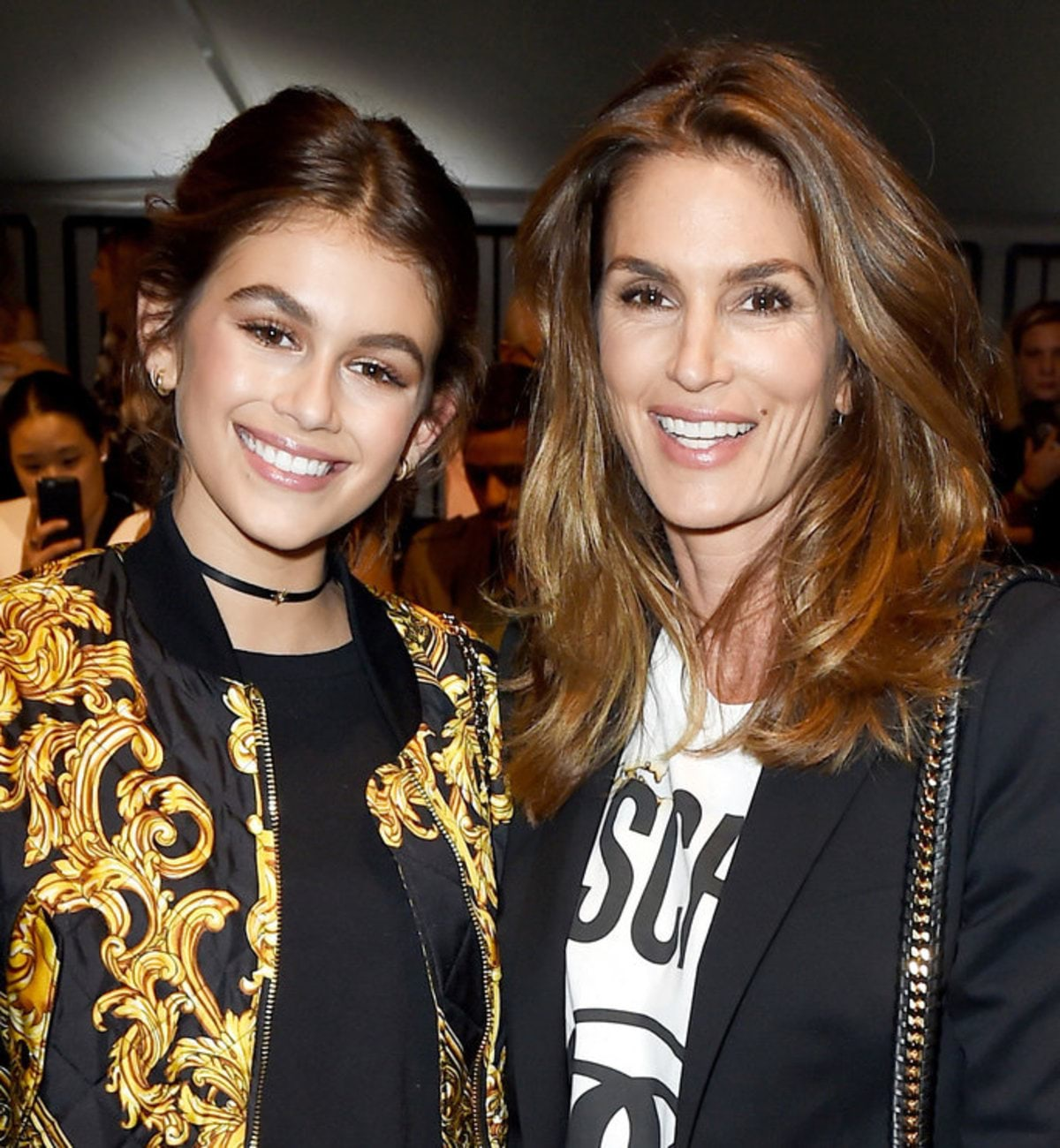 LOS ANGELES, CA - JUNE 10: Model Cindy Crawford (R) and her daughter Kaia Jordan Gerber attend the Moschino Spring/Summer 17 Menswear and Women's Resort Collection during MADE LA at L.A. Live Event Deck on June 10, 2016 in Los Angeles, California. (Photo by Kevin Winter/Getty Images)
