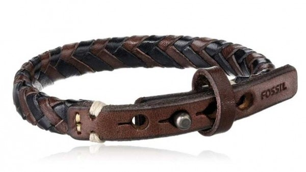 Fossil-Mens-Braided-Brown-and-Black-Bracelet-side