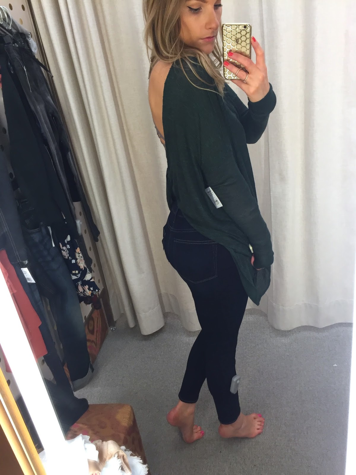 free people open back sweater top dark green acoest1984 nordstrom anniversary sale try on fitting room pics nordstrom ottawa fashion blog